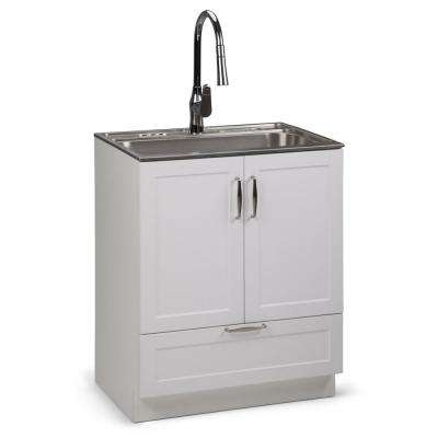 Reed 28 in. W x 19 in. D in. x 35 in. H Laundry Cabinet with Pull-Out Faucet and Stainless Steel Laundry/Utility Sink