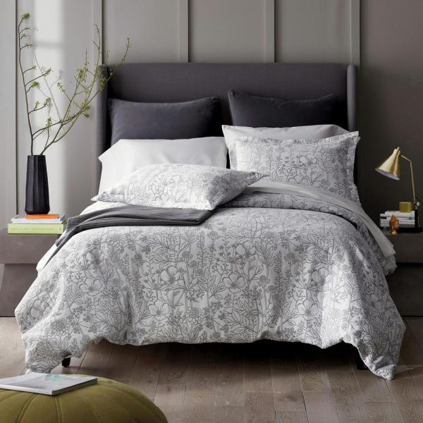 Mystic Garden Gray Floral Cotton King Duvet Cover