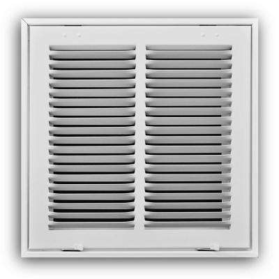 14 in. x 14 in. White 2-Column Return Air Grille