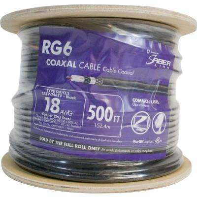 (By-the-Foot) 18 RG6 Quad Shield CU CATV CM/CL2 Coaxial Cable in Black