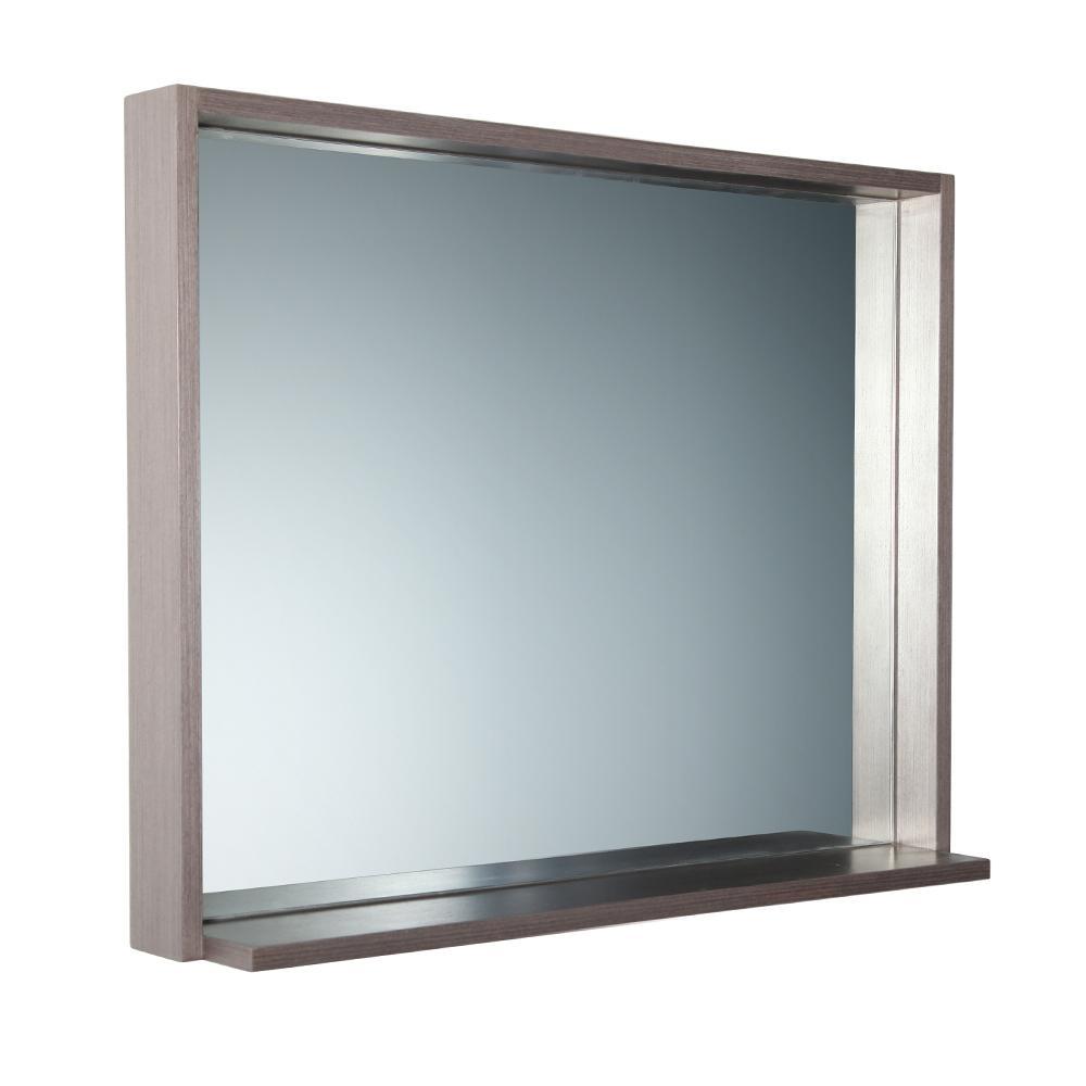 Allier 35.50 in. W x 25.50 in. H Framed Wall Mirror with Shelf in Gray Oak