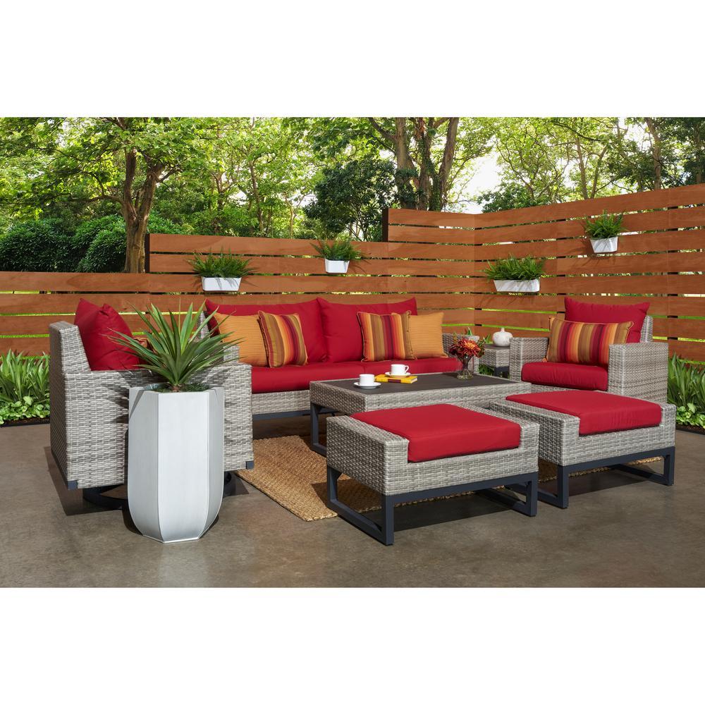 Milo Grey 7-Piece Wicker Motion Patio Deep Seating Conversation Set with Sunbrella Sunset Red Cushions