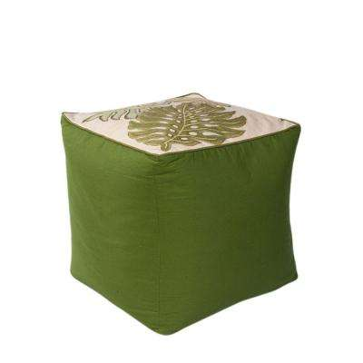 Paradise Ivory and Green Accent Pouf