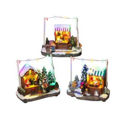 5.7 in. H Assorted Battery Operated Holiday Shops (Set Of 3)