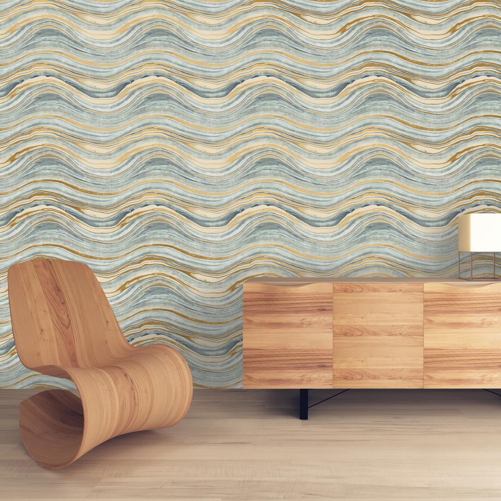 Travertine Aquamarine and Gold Self-Adhesive Removable Wallpaper
