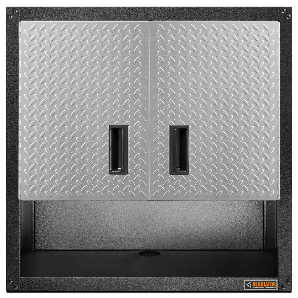 Ready to Assemble 28 in. H x 28 in. W x 12 in. D Steel 2-Door Garage Wall Cabinet with Shelf in Silver Tread