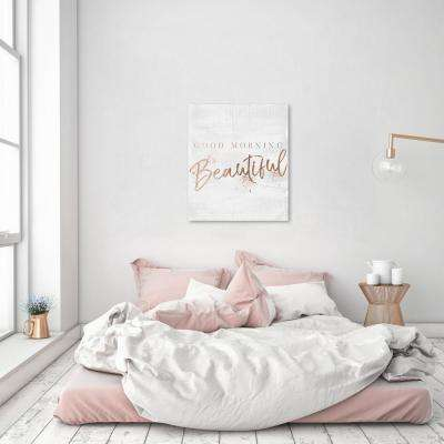 36 in. x 30 in. 'Good Morning Beautiful Rose Gold' by Oliver Gal Printed Framed Canvas Wall Art