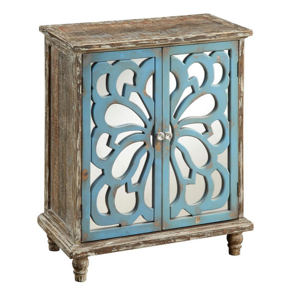 Delvale Brown and Blue 2-Door Cabinet
