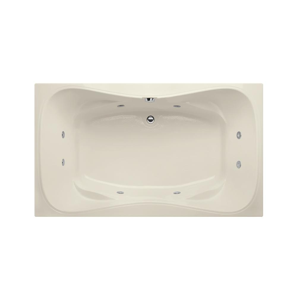 Studio Hourglass 5 ft. Reversible Drain Whirlpool Tub in Biscuit