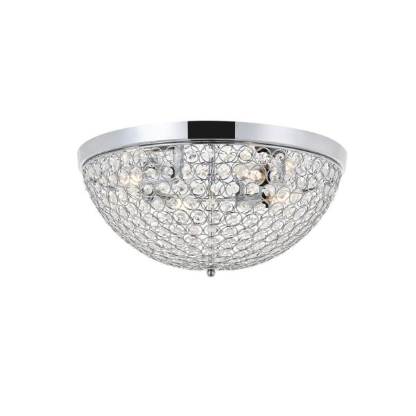 Timeless Home Troy 18 in. W x 8 in. H 4-Light Chrome and Clear Flush Mount
