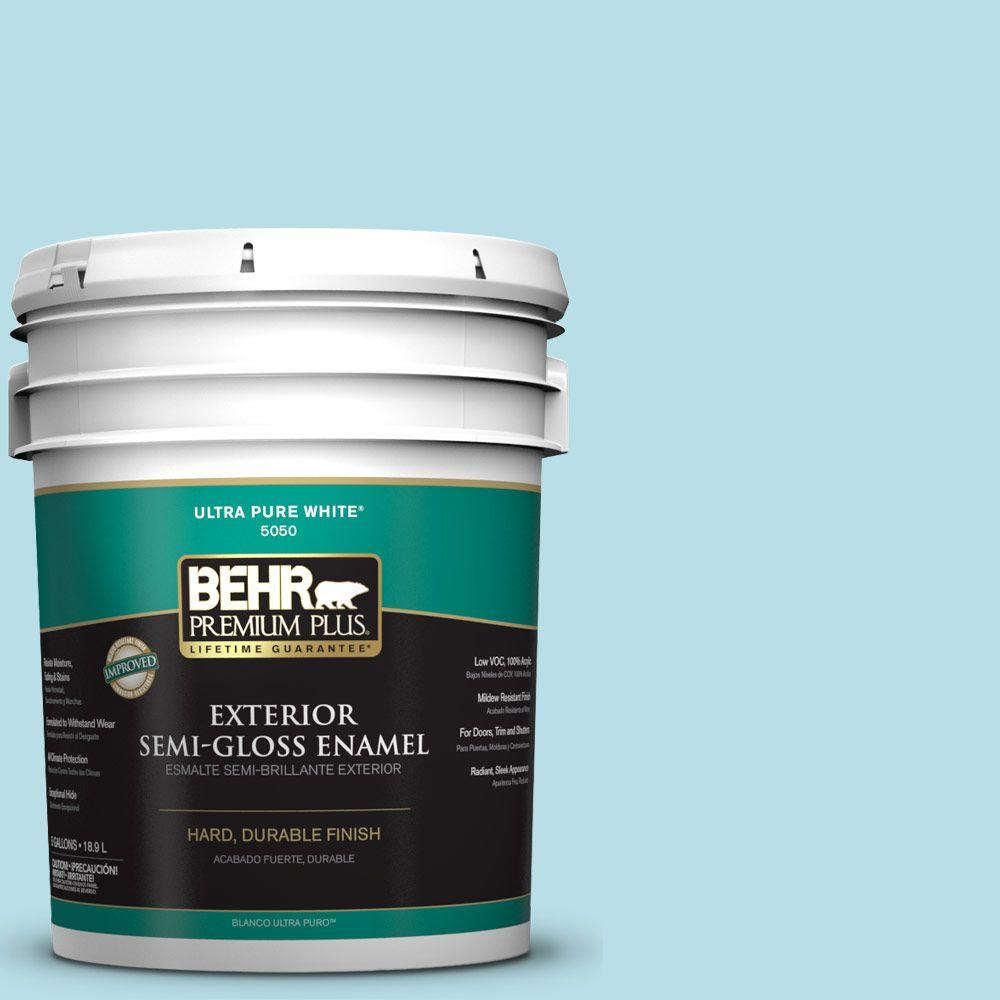 BEHR Premium Plus 5-gal. #M470-2 Basin Blue Semi-Gloss Enamel Exterior Paint