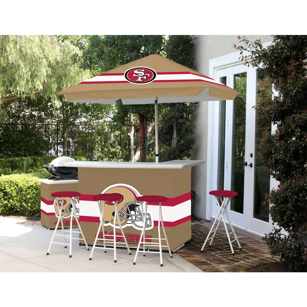 Best of Times San Francisco 6-Piece All-Weather Patio Bar Set with 6 ft. Umbrella