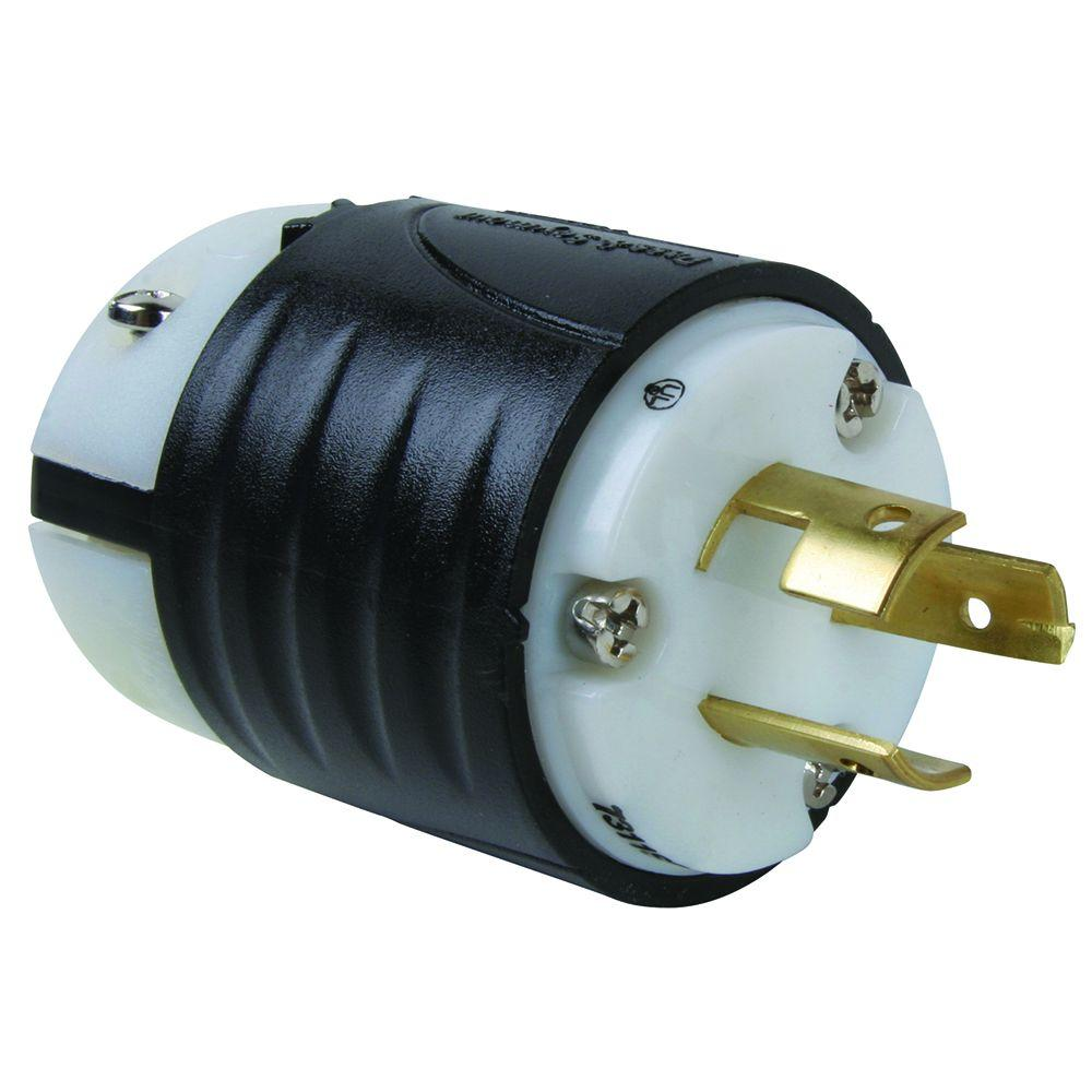 Pass & Seymour Turnlok 20 Amp 125/250-Volt Locking Plug Non-NEMA - Black and White