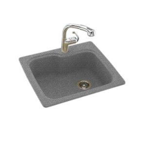 Swan Drop In Undermount Solid Surface 33 In 1 Hole Single Bowl Kitchen Sink In Gray Granite Ks03322sb 042 The Home Depot