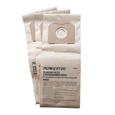 15 Gal. High Efficiency Filter Bags for PORTER-CABLE 7814 Power Tool Triggered Vacuum (3-Pack)