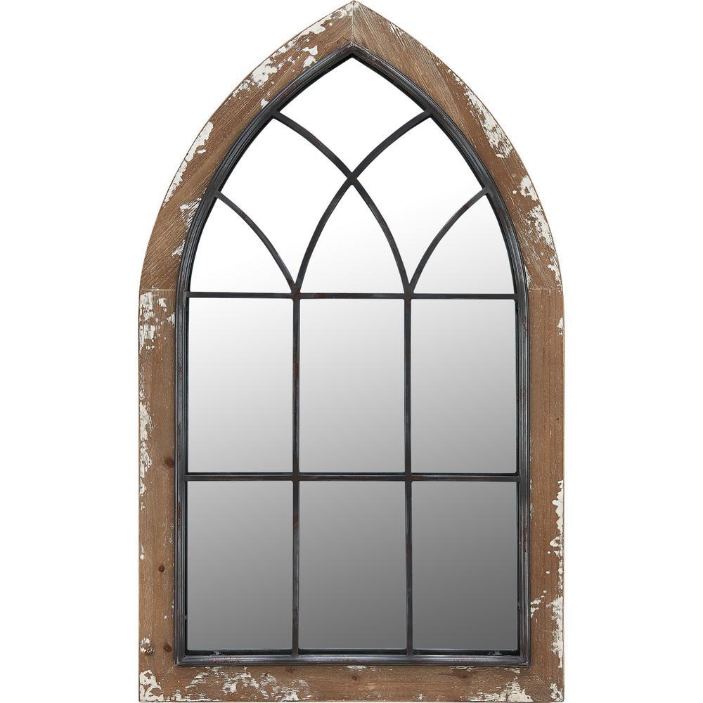 Medium Arch Rustic Brown Contemporary Mirror (36 in. H x 2 in. W)