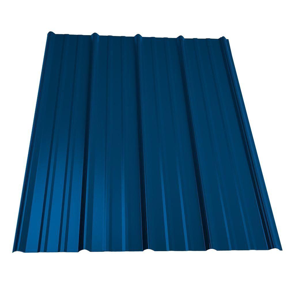 16 ft. Classic Rib Steel Roof Panel in Ocean Blue