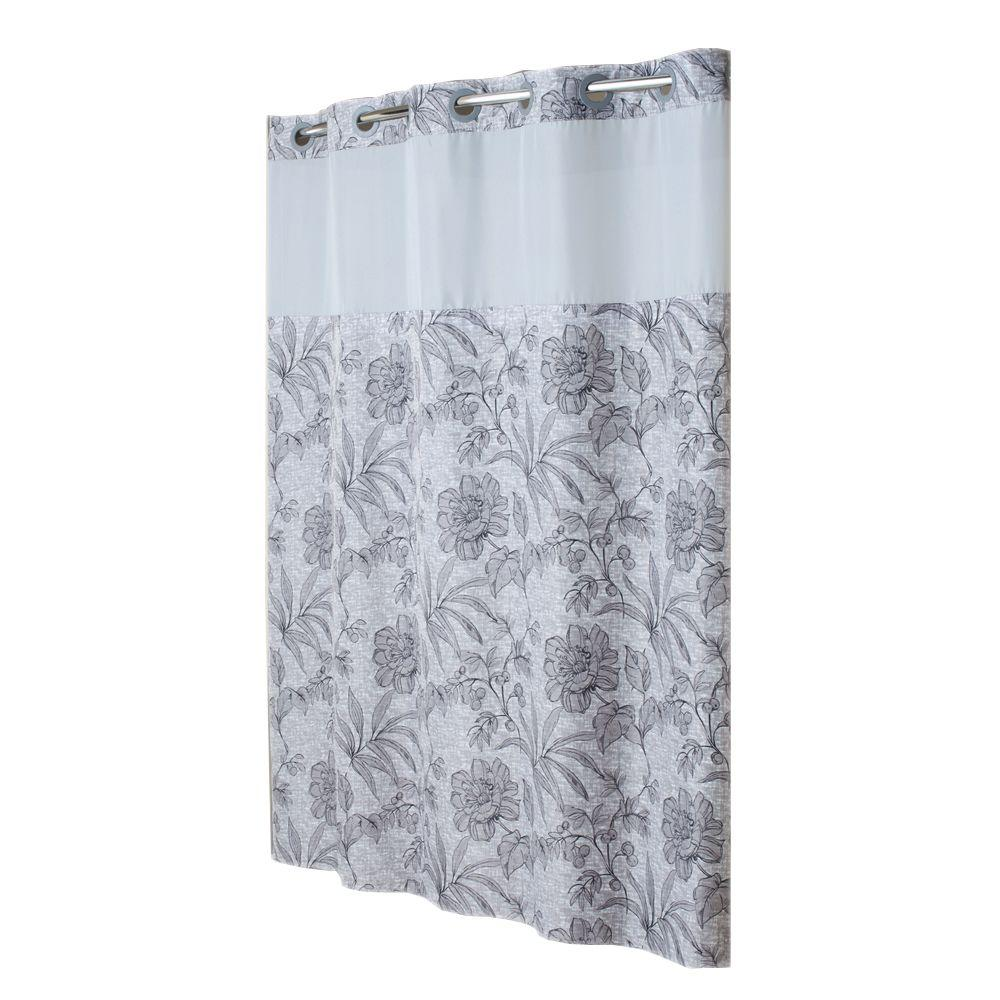 Hookless Shower Curtain Mystery with Peva Liner in Grey Floral Print-DISCONTINUED