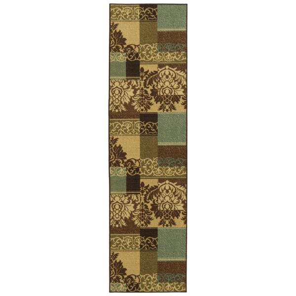 Ottohome Collection Contemporary Damask Design Multicolor 3 ft. x 10 ft. Runner Rug