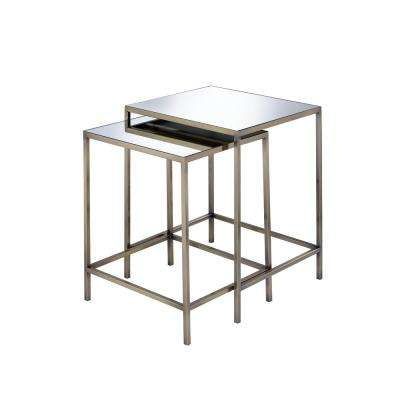 Yumia Mirror and Antique Brass 2-Pieces Nesting Table