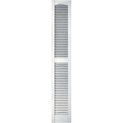 12 in. x 72 in. Louvered Vinyl Exterior Shutters Pair in #117 Bright White