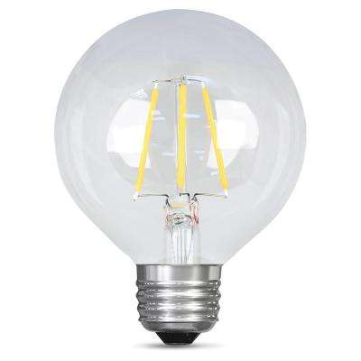 40W Equivalent Soft White G25 Dimmable Clear Filament LED Medium Base Light Bulb (Case of 12)
