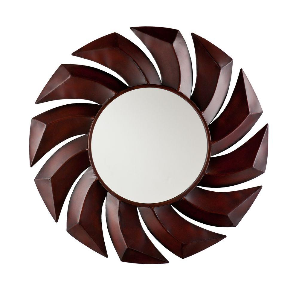 Southern Enterprises 29.25 in. Round Decorative Spin Framed Mirror