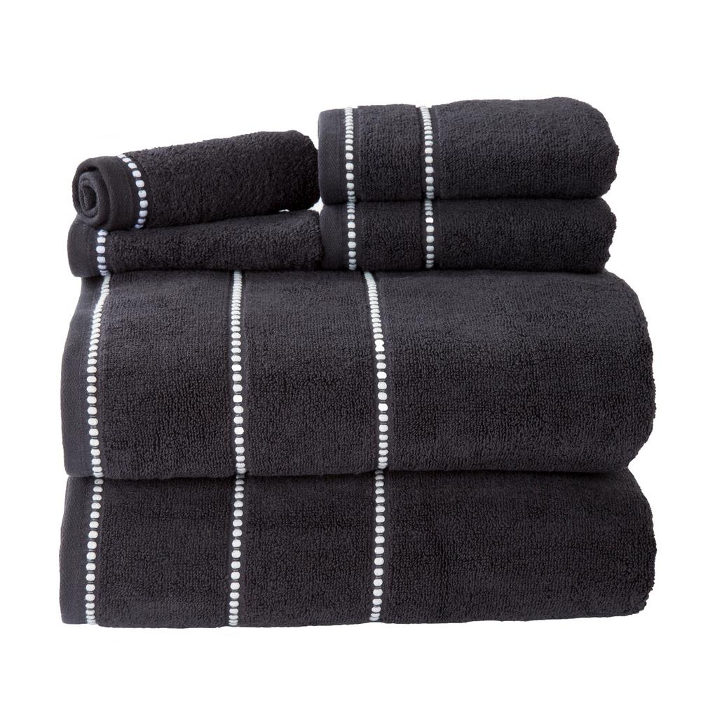 Bath Towel Sets Black And White: Lavish Home 100% Cotton Zero Twist Quick Dry Towel Set In