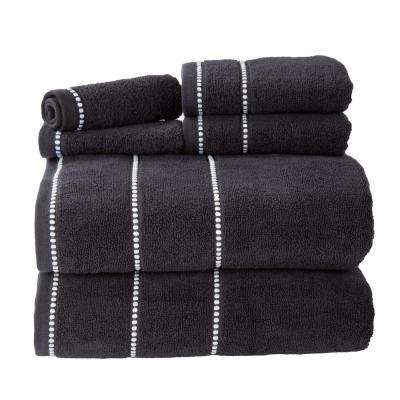 100% Cotton Zero Twist Quick Dry Towel Set in Black (6-Piece)