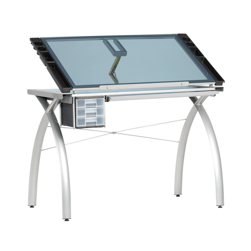 Attractive Studio Designs Futura Collection 38 In. W Silver/Blue Glass Metal And Glass  Craft
