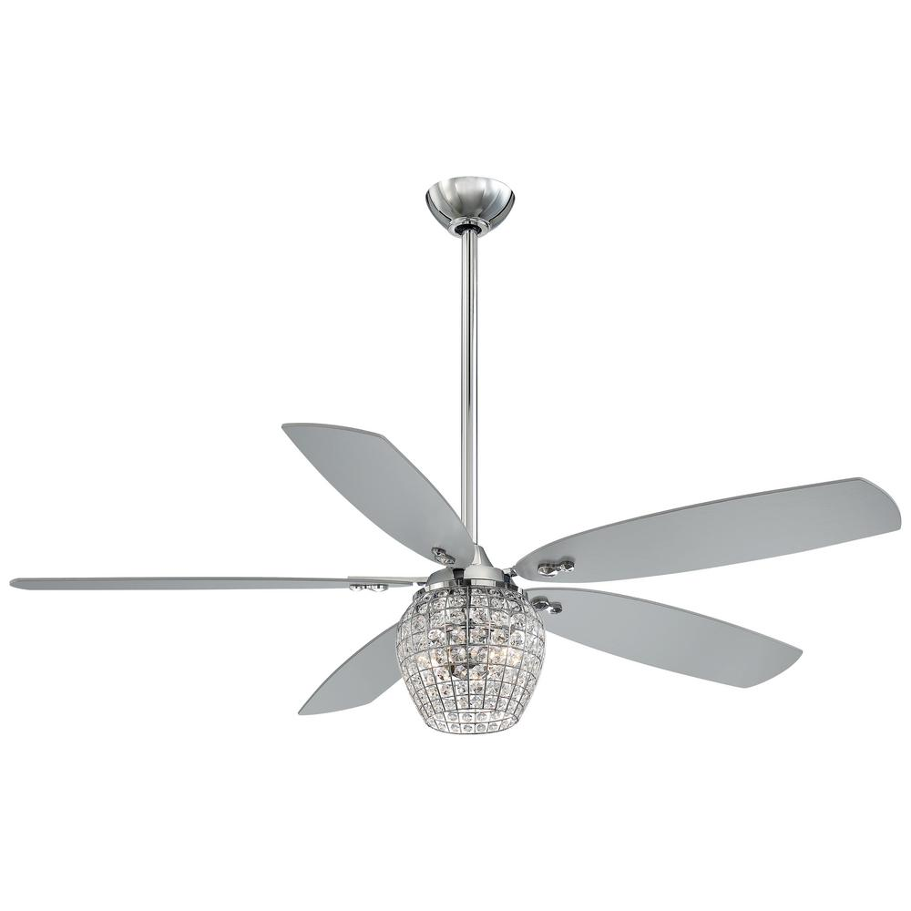 Minka-Aire Bling 56 in. Integrated LED Indoor Chrome Ceiling Fan with Light with Remote Control