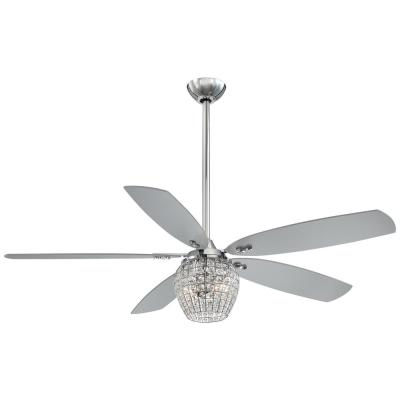 Bling 56 in. Integrated LED Indoor Chrome Ceiling Fan with Light with Remote Control