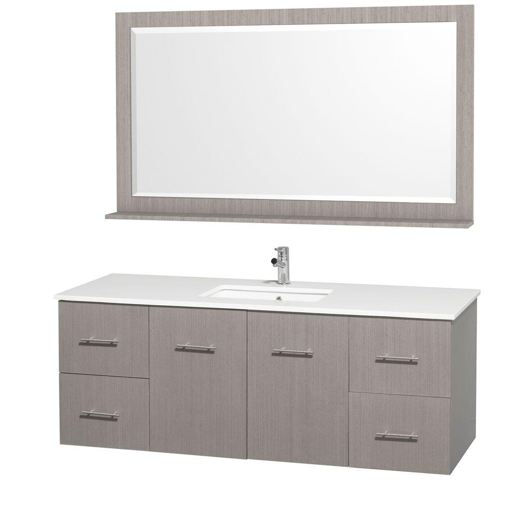 Wyndham Collection Centra 60 in. Vanity in Grey Oak with Man-Made Stone Vanity Top in White and Square Porcelain Undermounted Sink