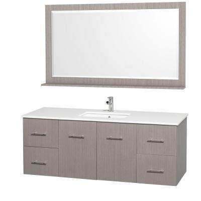 Centra 60 in. Vanity in Grey Oak with Man-Made Stone Vanity Top in White and Square Porcelain Undermounted Sink