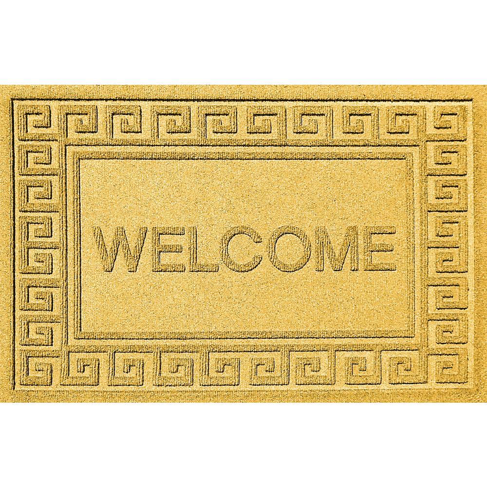 Greek Welcome Yellow 24 in. x 36 in. Polypropylene Door Mat