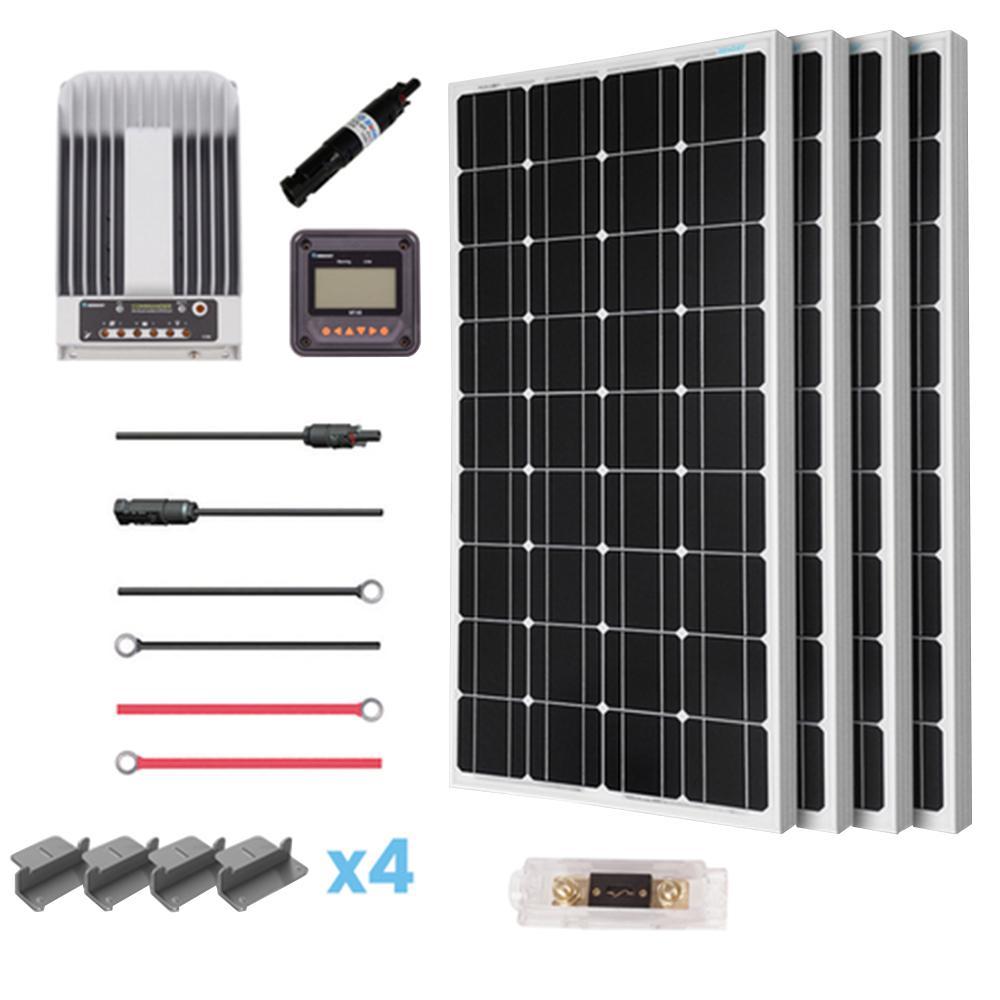400-Watt 12-Volt Mono Solar Premium Kit for Off-Grid Sola...