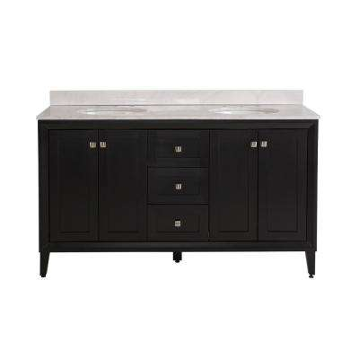 Austell 61 in. W x 22 in. D x 38.75 in. H Vanity in Black with Stone Effects Vanity Top in Carrera with White Basin