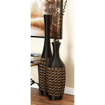 47 in. Global-Inspired Brown Woven Rattan Decorative Vase