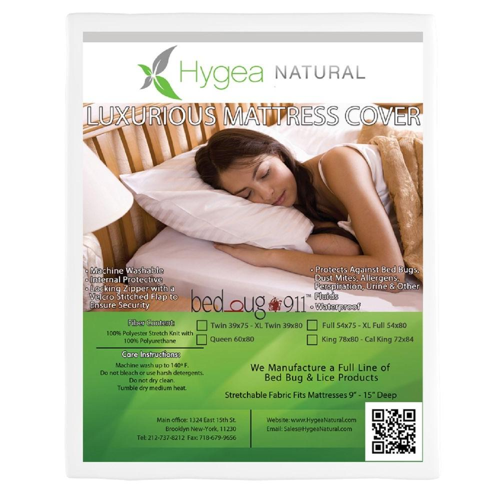 Bed Bug 911 Hygea Natural Bed Bug Mattress Cover or Box Spring Cover : Luxurious : Plush Fabric Waterproof Encasement - Size Queen
