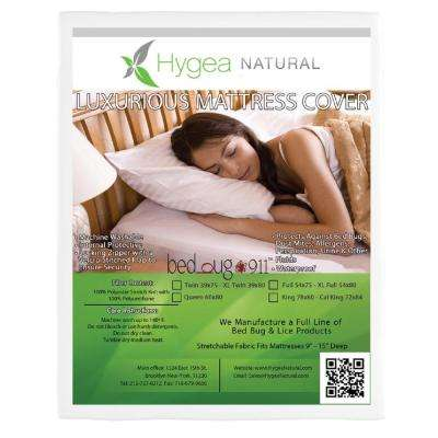 Hygea Natural Bed Bug Mattress Cover or Box Spring Cover : Luxurious : Plush Fabric Waterproof Encasement - Size Queen