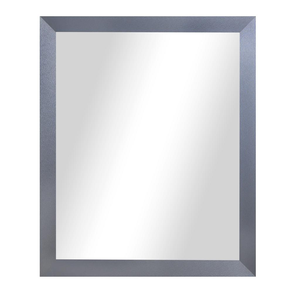 60 In X 40 Shadowy Tungsten Smokestack Framed Non Beveled Wall Mirror