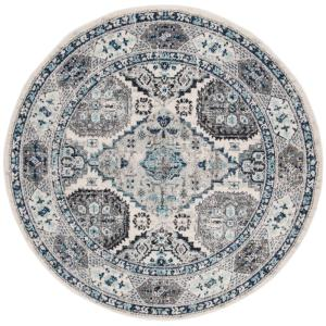 Madison Light Gray/Blue 6 ft. 7 in. x 6 ft. 7 in. Round Area Rug
