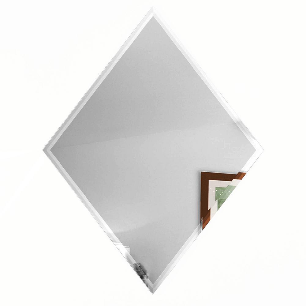 "Diamond 6"" x 8"" Silver Gray Beveled Glossy Glass Mirror Peel & Stick Decorative Bathroom Wall Tile Backsplash (6-Pc/Pk)"