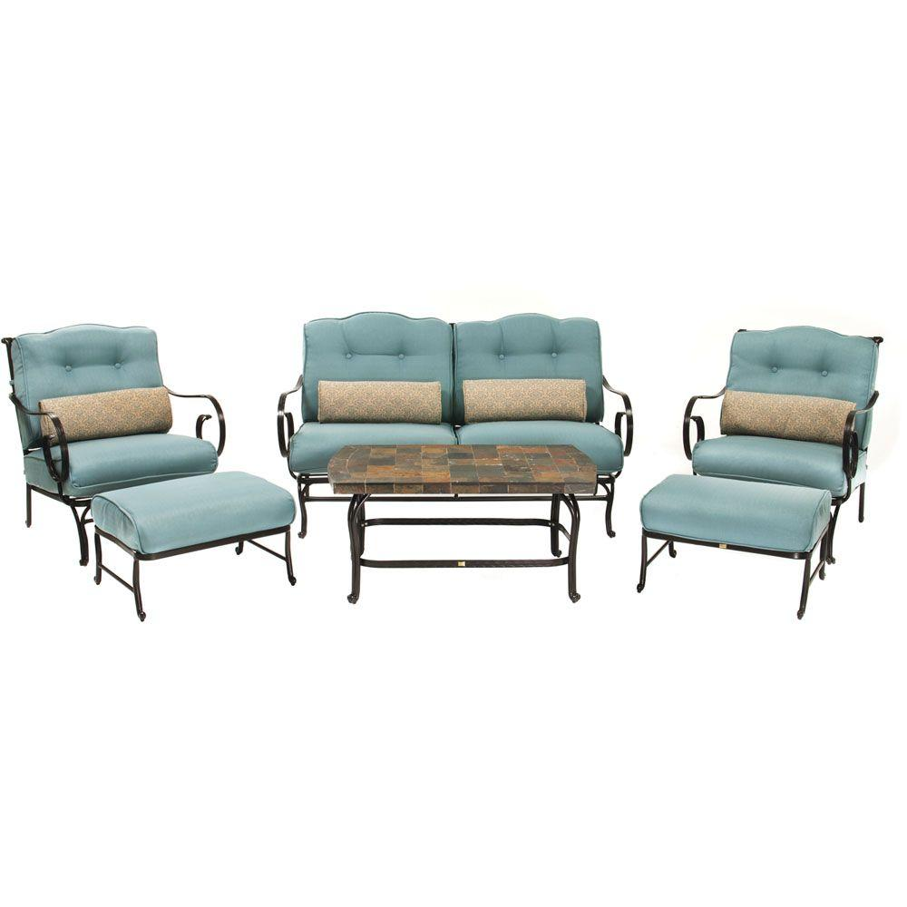 hanover oceana 6 piece patio lounge seating set with nepal blue cushions oceana6pc the home depot. Black Bedroom Furniture Sets. Home Design Ideas