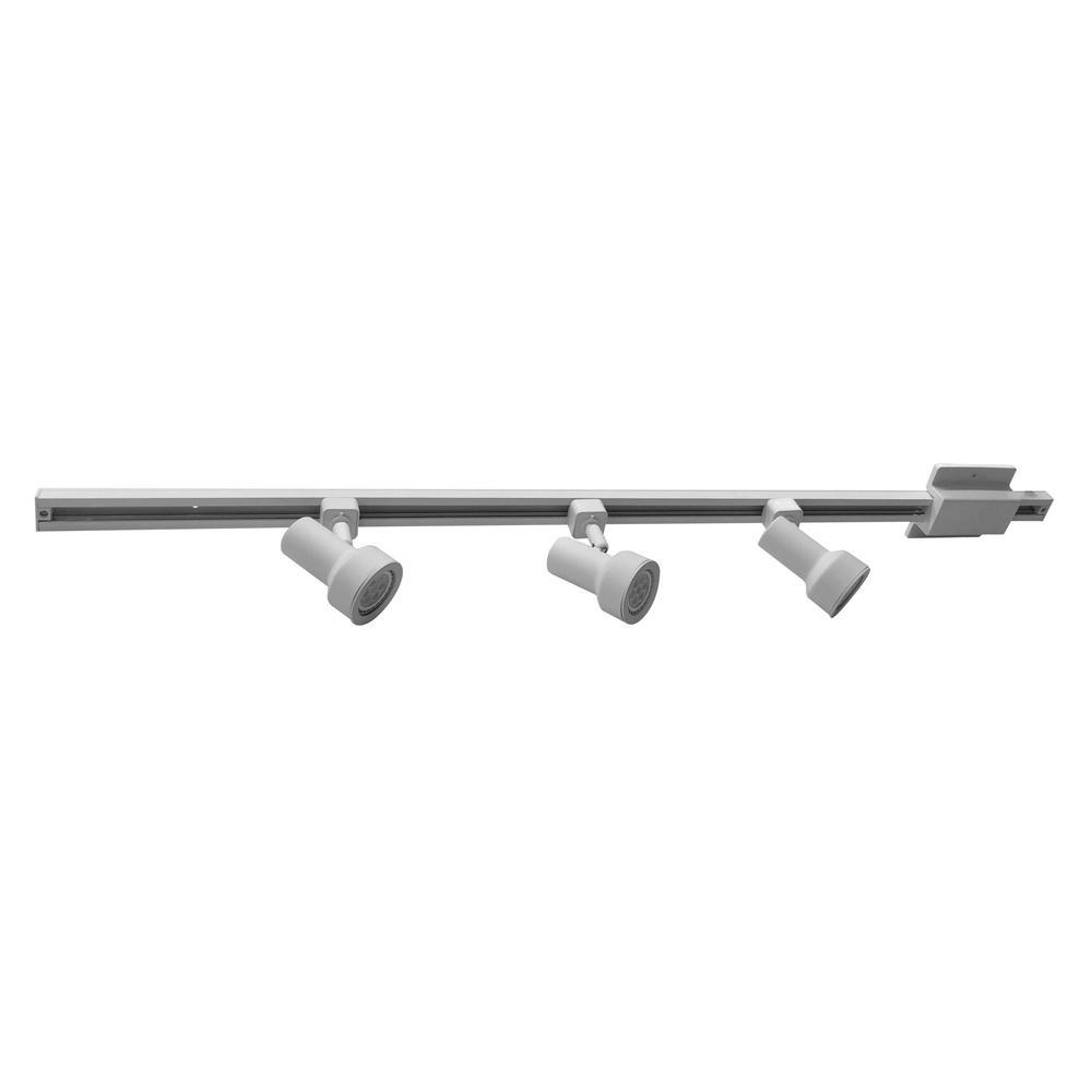 sale retailer 138bc a13dc Hampton Bay 3-Light 44 in White LED Linear Track Lighting Mini Step Head Kit