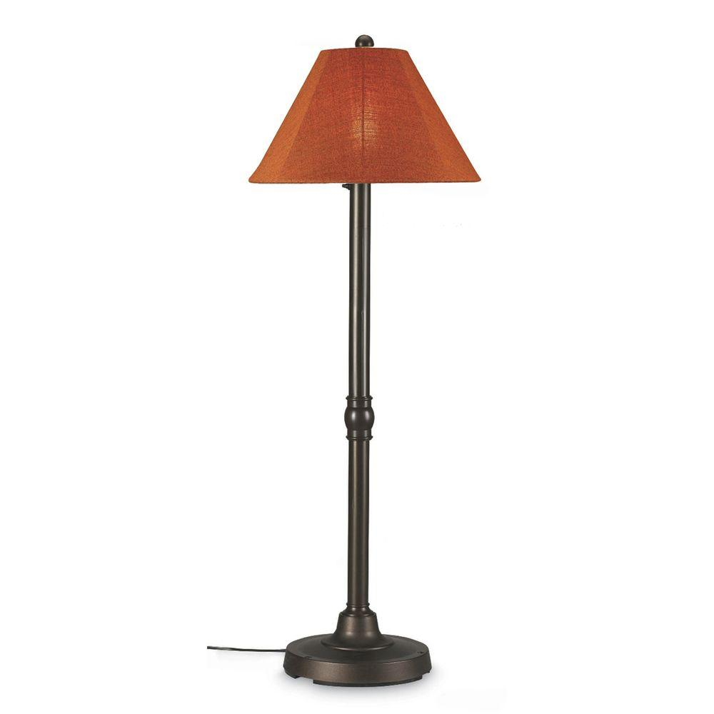 San Juan 60 in. Outdoor Bronze Floor Lamp with Chile Linen