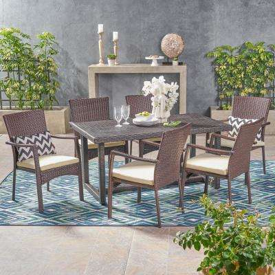 Knox Multi-Brown 7-Piece Wicker Outdoor Dining Set with Crme Cushion