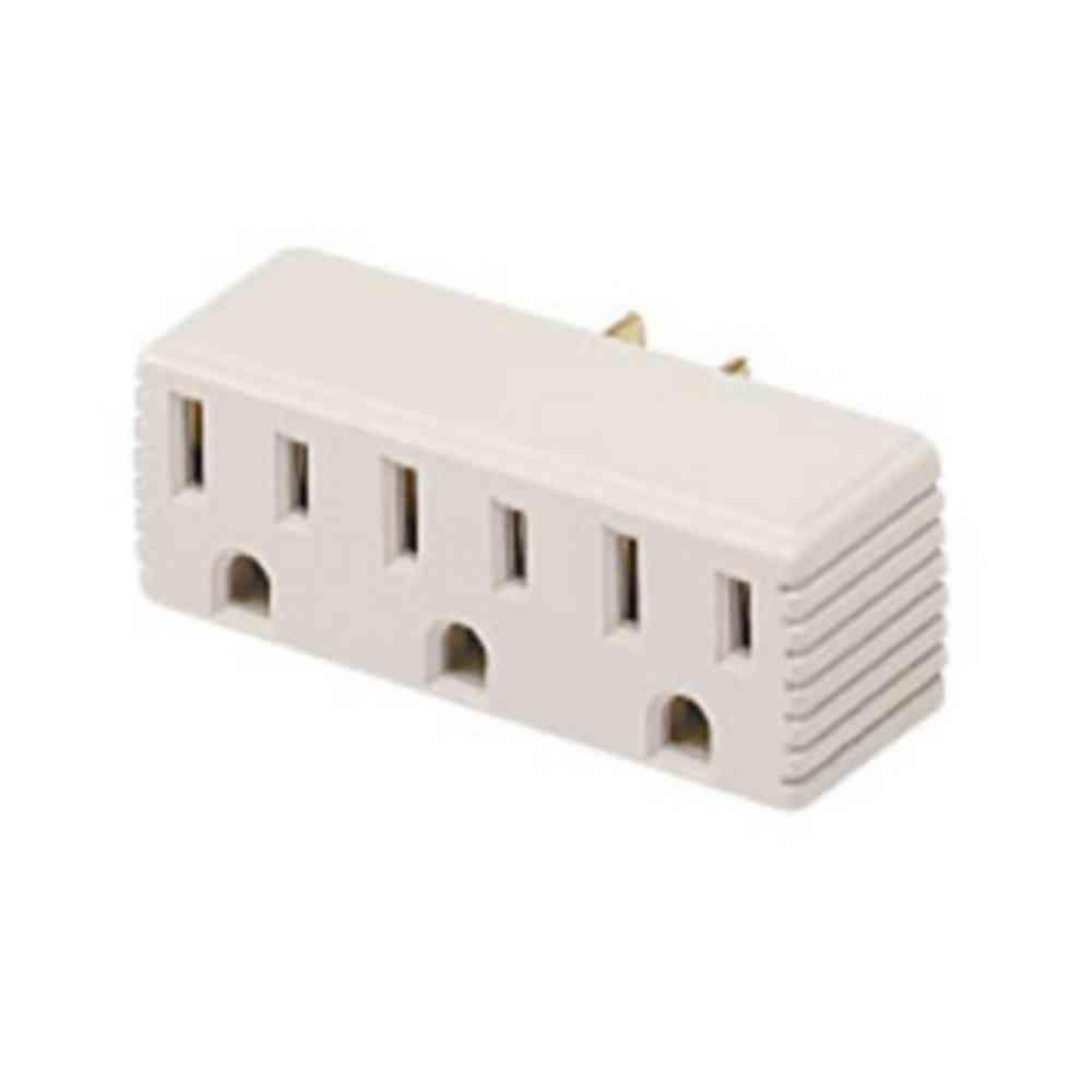 null Ash 3-Outlet Grounding Receptacle Adapter-DISCONTINUED