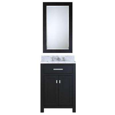 24 in. W x 21 in. D Vanity in Espresso with Marble Vanity Top in Carrara White, Mirror and Chrome Faucet