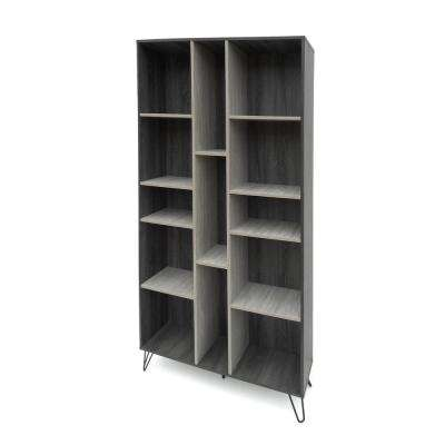 Oak Gray 13-Compartment Bookcase